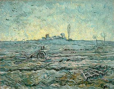 Snow-covered Field With A Harrow - After Millet Art Print by Vincent van Gogh
