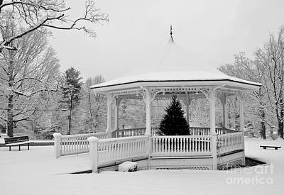 Photograph - Snow Covered Gazebo In Winter by Staci Bigelow