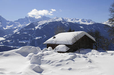 Snow-covered House In The Mountains In Winter Art Print by Matthias Hauser