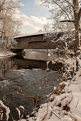 Photograph - Snow Covered Kennedy Covered Bridge by Michael Porchik