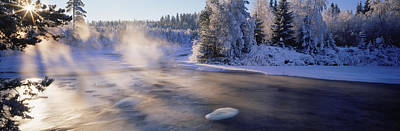Snow Covered Laden Trees, Dal River Art Print by Panoramic Images