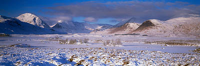 Rannoch Moor Photograph - Snow Covered Landscape With Mountains by Panoramic Images