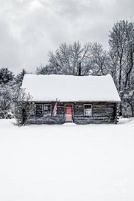 Red Doors Photograph - Snow Covered Log Cabin by Edward Fielding