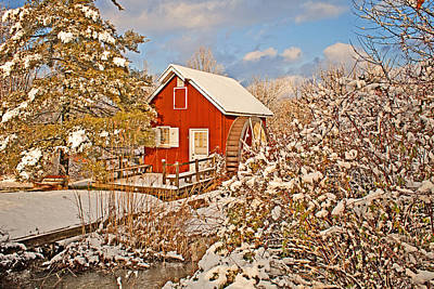 Photograph - Snow Covered Mill. by Michael Porchik