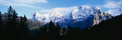 Eiger Photograph - Snow Covered Mountains On A Landscape by Panoramic Images