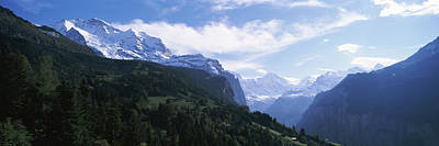 Snow Covered Mountains, Swiss Alps Art Print