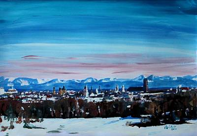 Snow Covered Munich Winter Panorama With Alps Original by M Bleichner