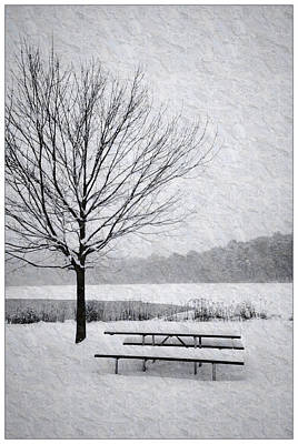 Crystal Wightman Rights Managed Images - Snow Covered Picnic Table Royalty-Free Image by Crystal Wightman