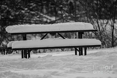 Photograph - Snow Covered Picnic Table by JT Lewis