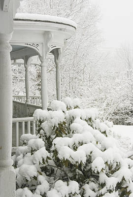 Winter In Maine Photograph - Snow Covered Porch by Keith Webber Jr