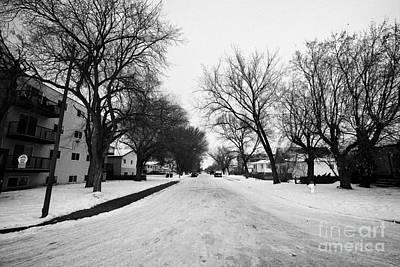 snow covered residential street pleasant hill Saskatoon Saskatchewan Canada Art Print