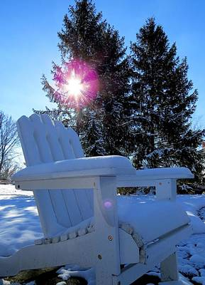 Photograph - Snow Covered Adirondack Chair by Ron Grafe