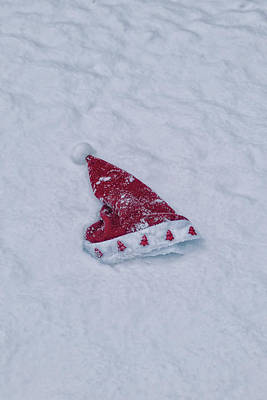 snow-covered Santa hat Print by Joana Kruse