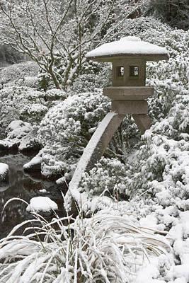 Sutton Photograph - Snow-covered Stone Lantern, Portland by William Sutton