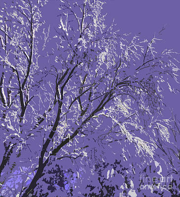 Snowy Digital Art - Snow Covered Trees Purple Abstract by Adri Turner