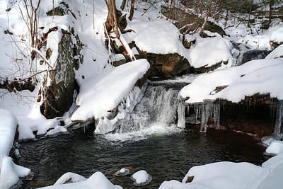 Photograph - Snow Covered Unsung Glen Leigh Waterfall by Gene Walls