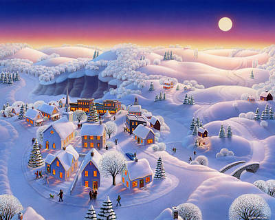 Moonlit Painting - Snow Covered Village by Robin Moline
