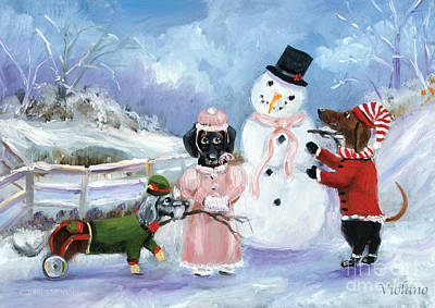 Painting - Snow Day For The Dachshund Dogs By Violano by Stella Violano