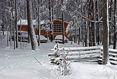 Cedar Fence Photograph - Snow Day by Steve Harrington