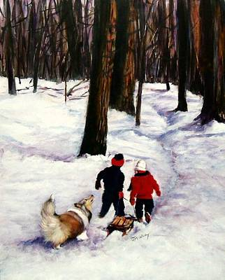 Sheltie Painting - Snow Days by Jeanne  McNally