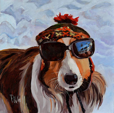 Dog In Snow Painting - Snow Dog by Pattie Wall