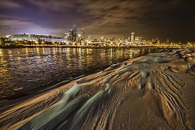Snow Drift And Chicago Skyline  Art Print