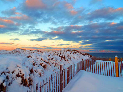 Snow Dunes At Sunrise Art Print by Dianne Cowen