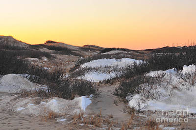 Catherine Reusch Daley Fine Artist Photograph - Snow Dunes Sunset  by Catherine Reusch Daley