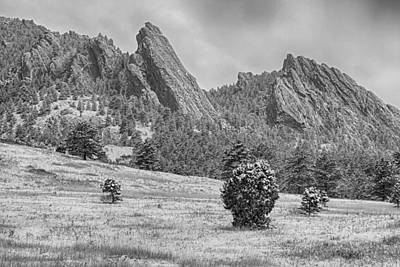 Photograph - Snow Dusted Flatiron View Boulder Colorado Bw by James BO Insogna