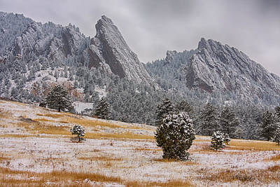 Photograph - Snow Dusted Flatiron View Boulder Colorado by James BO Insogna
