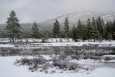 Snow-dusted Gibbon Meadows In Yellowstone Art Print by Bruce Gourley