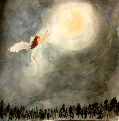 Night Angel Mixed Media - Snow Angel by Jennie Hallbrown