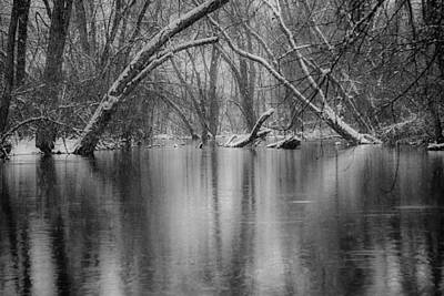 Photograph - Snow Falling On Ipswich Wooded Pond by Jeff Folger