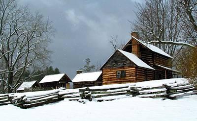 Photograph - Snow Falls On The Homestead by Carol Montoya
