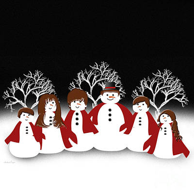 Digital Art - Snow Family 2 Square by Andee Design