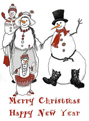 Snowwoman Digital Art - Snow Family by Carol Jacobs