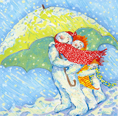 Frosty Weather Painting - Snow Familys Winter Walk by David Cooke