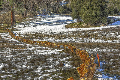 Digital Art - Snow Fence by Photographic Art by Russel Ray Photos