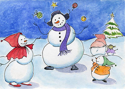 Snow Folks - Family Time. Art Print by Katherine Miller