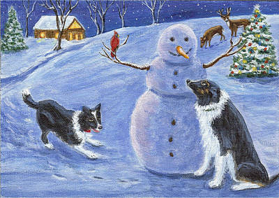 Snow Friends Art Print by Fran Brooks