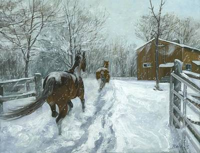 Barns In Snow Painting - Snow Fun by Karen  Bockus