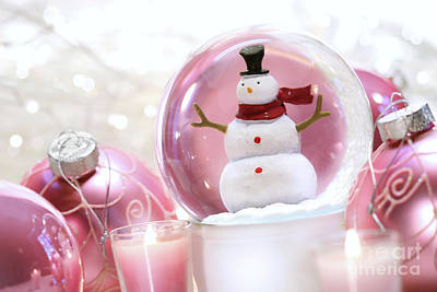 Snow Globe With Pink  Balls  Art Print by Sandra Cunningham