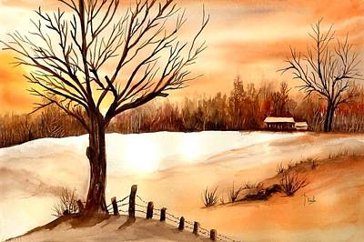 Winter Scenes Painting - Snow Glow by Neela Pushparaj