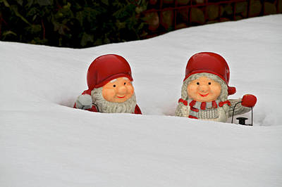 Whimsy Photograph - Snow Gnomes by Odd Jeppesen