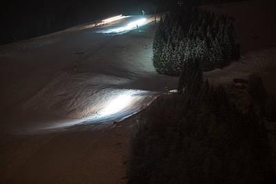 Snow Groomers At Night Art Print