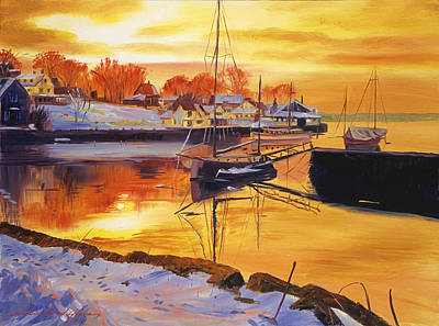New England Village Painting - Snow Harbor by David Lloyd Glover