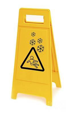 Snow Hazard Warning Sign Art Print by Leeds Teaching Hospitals NHS Trust