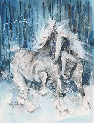 Snow Horses Art Print by Mary Armstrong