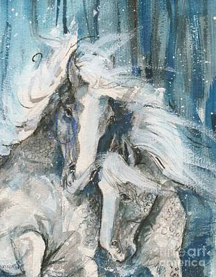 Snow Horses2 Art Print