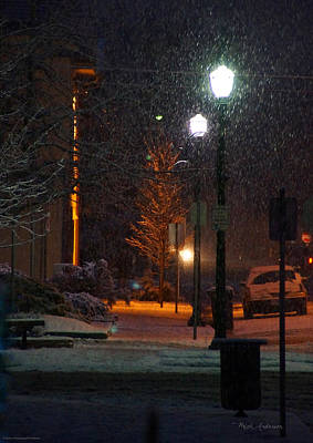 Photograph - Snow In Downtown Grants Pass - 5th Street by Mick Anderson